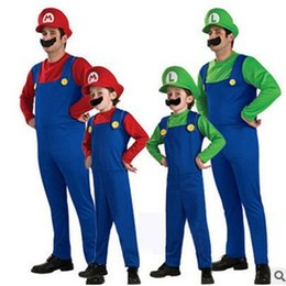 Cosplay Mario Red Australia - S-XL Halloween Costumes Kids Boys Adult Super Mario Bros Cosplay Fantasia Disfraces Christmas Purim Carnival Stage performance