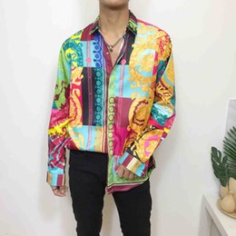 Wholesale dog collar shirts for sale – custom HOT Autumn winter Harajuku Medusa gold chain Dog Rose print shirts Fashion Retro floral sweater Men long sleeve tops shirts Fancy D Pr