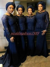 $enCountryForm.capitalKeyWord Australia - Long Sleeve Mermaid Lace Bridesmaid Dresses African Juniors Maid Of Honor Dress Wedding Guest Wear Evening Formal Plus Size Party Gowns Prom