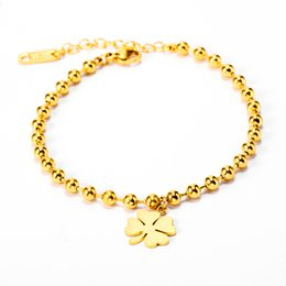Wholesale Four clover Plant natural style jewelry Charms Chain Beads Stainless Steel Bracelet Pendant Gold Bracelet Charm Girl Jewelry