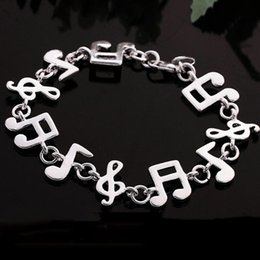 music note bangle NZ - Wholesale-Women Fashion Silver Plated Music Note Chain Bracelet Vogue Classic Bangle Jewelry