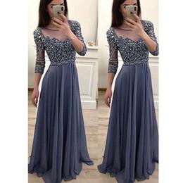 $enCountryForm.capitalKeyWord Australia - vestido de noche Sheer Neck Cheap A Line Prom Dresses Sparkling Rhinestones 3 4 Sleeve Evening Dresses See-Through Party Gowns