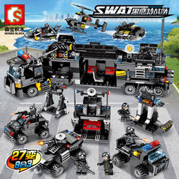 Car Helicopter Toy Australia - 695pcs City Police Series SWAT Police Truck Station Building Blocks Police Helicopter Ship Car Figures Toy For Children Boy