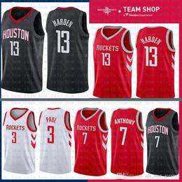 cheao sale James 13 Harden Houston Jersey Rockets 2019 New The City3 Chris    Paul 7 Carmelo   Anthony Basketball Jerseys Red Black WHITE 81342624c