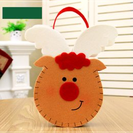 christmas snowman ornaments sale NZ - Creative Christmas Candy Bag Non-woven Fabric Cute Cartoon Santa Claus Snowman Elk Handbag Hanging Gift Bags LAD-sale
