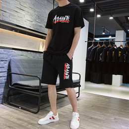 Fashion Mens Leisure Suits Australia - Mens Short Sleeve Tshirt Summer Suit Korean Fashion Mens Sports and Leisure Style with Short Trousers Summer Suit
