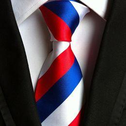 $enCountryForm.capitalKeyWord Australia - Mens Classic Design High Quality 15 Colors Custom Strip Print Gravatas 145cm Woven Jacquard Polyester Silk Neck Ties for Business Gift