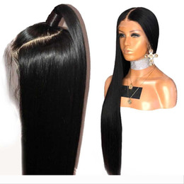 front lace wig ponytail UK - 13x6 Lace Front Straight Human Hair Wigs For Black Women Glueless pre plucked 360 lace frontal wig ponytail 360 circle bun 180% Density