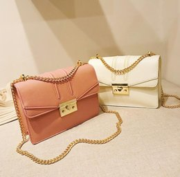 Locking Fashion Chains Australia - Women's bag 2019 Europe and the new fashion lock buckle Messenger chain bag Korean version of the chain ladies shoulder bag#001