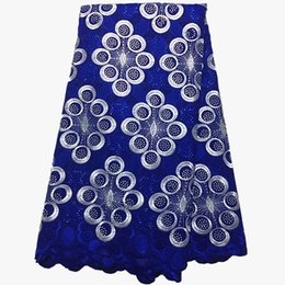 Chinese  latest african laces 2019 Cotton Lace Fabrics african fabric swiss voile lace with stones for dress manufacturers