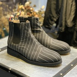 Selling high heel ShoeS online shopping - New Fall Winter Stripe Single Boots Men s Single Shoes High top Fashion Hot Man Ankle Boots Hot Selling