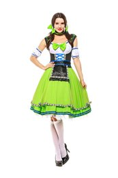 Wholesale fancy uniforms online – ideas European Traditional Beer Girl Fancy Dress German Women Carnival Oktoberfest Uniform Green Original Bavarian Cosplay Theme Costume
