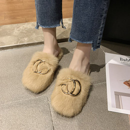 gym wear brands NZ - 2019 autumn and winter new wild indoor fur shoes Baotou flat wear outside rabbit fur slippers brand luxury design female slippers