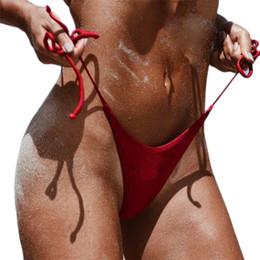 Wholesale Black Friday Deals Sexy Women Swimwear Brazilian Cheeky Bikini 2017 New Summer Bottom Side Tie Thong Bathing Swimsuit