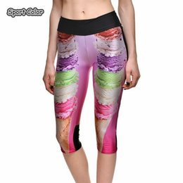 hot girls yoga pants 2019 - Summer New Hot Women Mid-Calf Leggings Sexy Girls Fitness Yoga Cropped Trousers Elastic 3D Food Design Breathable Capris
