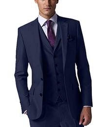 Dark Green Tie Grey Suit Australia - Brand New Groom Tuxedos Navy Blue Groomsmen Side Vent Best Man Suit Wedding Men Suits Bridegroom (Jacket+Pants+Tie+Vest) A3