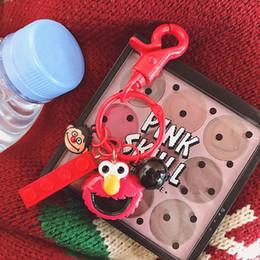 $enCountryForm.capitalKeyWord Australia - Sesame Street Plush Key Chain For Girls Student Creative Elmo Cartoon Bell Bag Phone Charm Keys Buckle Trinkets Accessories Gadgets Keychain