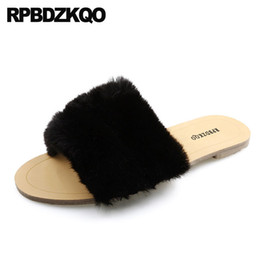 korean flat slippers Australia - fluffy 5 korean black slides fashion shoes 2018 women brand flat open toe furry slippers faux fur chinese designer fuzzy ladies