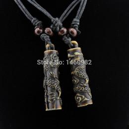 $enCountryForm.capitalKeyWord Australia - Cool Boy Men's Yak Bone Carving Cylindrical Totem Dragon Pendant Necklace Ethnic Wood Beads Necklace Amulet Lucky Gift YN112