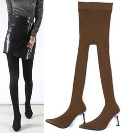 $enCountryForm.capitalKeyWord Australia - Free shipping 2019 BuonoScarpe Women Over The Knee Boots Elastic Pantyhose Fashion Sock Boots High Heel Long Sexy Thigh High pillage toes