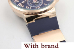Suisse Watches NZ - watch Hot seller Hot Sale UN Auto watch Blue Dial Gold Case Suisse Rubber Band Glass Back 45mm Mechanical watch