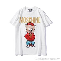 Cartoon Stamping Australia - 582#, new summer short-sleeved, high-density embroidery + hot stamping, letter printing, cartoon printing, round neck T-shirt.