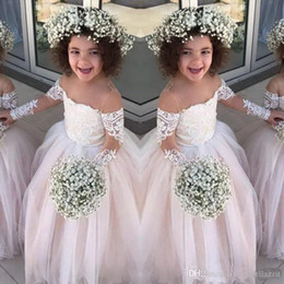 Cheap Little Flower Girls Dress NZ - Lace Sheer Long Sleeves Little Girls Pageant Gowns Tulle Ball Gown Flower Girl Dresses For Wedding Baby Birthday Party Dress Cheap
