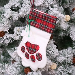 thin short stockings UK - Great Paws Pattern Christmas Stocking Creative New Year Gift Plaque Dog Cat Paw Socks Christmas Tree Decorations Christmas Decorative