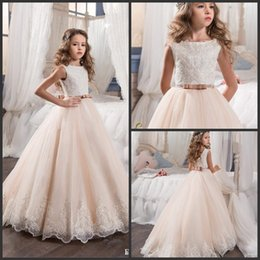 $enCountryForm.capitalKeyWord Australia - 2019 Vintage Flower Girl Dresses For Weddings Blush Pink Custom Made Princess Tutu Sequined Appliqued Lace Bow Kids First Communion Gowns