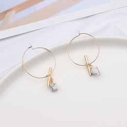 Discount cone earrings - MENGJIQIAO New Fashion Design Cone Square Marbled White Stone Hoop Earrings For Women Charm Jewelry Geometric Vintage Ea