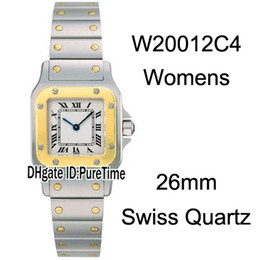 Chinese  New W20012C4 Two Tone Yellow Gold White Dial Roma Mark 26mm Swiss Quartz Womens Watch Stainless Steel Bracelet Ladies Watches CART-B35 manufacturers