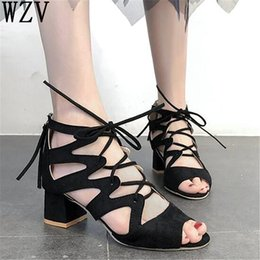 f0a71660ea9d41 Red thick heel stRap online shopping - Roman New women s shoes large size sandals  women
