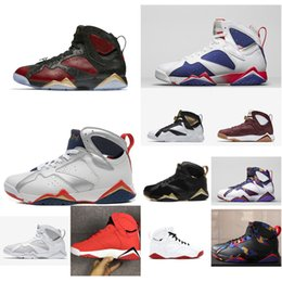d7a2e1ea71d Cheap new Mens Jumpman 7 VII basketball shoes 7s Olympic Black Red Gold  Bred aj7 air flights sneakers boots j7 for sale with original box
