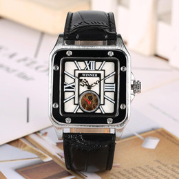 Wholesale Square Stainless Steel Skeleton Watch Case with Elegant Automatic self winding Mechanical Watches Comfort Leather Strap for Male