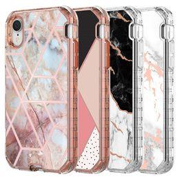 Für iphone xr case luxus marmor 3 in 1 schwere stoßfest volle körper schutzhülle case für iphone xr xs max