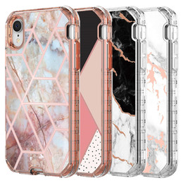 China For Iphone XR Case Luxury Marble 3 in 1 Heavy Duty Shockproof Full Body Protection Cover Case For Iphone XR XS Max cheap cases for apple suppliers