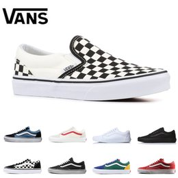 193409470a Original Vans Old Skool slip-on classic Men Women Canvas Sneakers  CHECKERBOARD Black White YACHT CLUB MARSHMALLOW Skateboard Casual Shoes