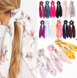 ribbon print NZ - 14pcs lot New arrival DIY Solid Floral Print Bow Satin Ribbon Ponytail Scarf Hair Tie ScrunchieS Elastic Hair Bands Hair Accessories