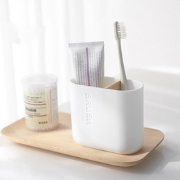 toilet accessories set UK - 5Pcs Bamboo Bathroom Set Toilet Brush Holder Toothbrush Glass Cup Soap Dispenser Soap Dish Bathroom Accessories Bathroom Storage Organizat