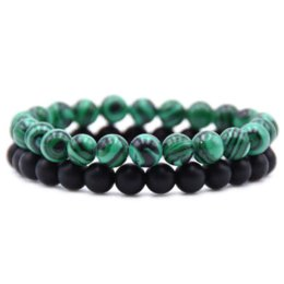 Malachite Bracelets Australia - DOKOL 8mm Matte Black Onyx Friendship Bracelets Natural Stone Malachite Beaded Bracelet For Women Man Best Friend DKB0120
