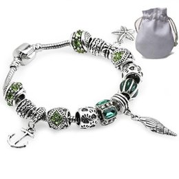 $enCountryForm.capitalKeyWord NZ - Cheap Cuff Bracelets Fit Pandora Women Bangle Silver Openwork Spacer Charms Beads Hollow Starfish Conch Pendant Green Cubic Zircon