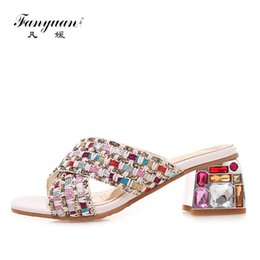 mixed crystals NZ - Fanyuan Fashion Mixed Colors Shallow Slippers Summer Crystal color High Heels Simple versatile Outside Slides women shoes