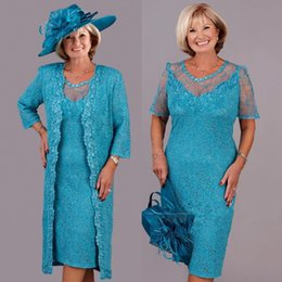 $enCountryForm.capitalKeyWord UK - Turquoise Lace Plus Size Mother Of the Bride Dresses with Lace Jacket Custom Make Tea-length Mother Formal Wedding Party Gown