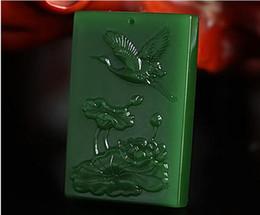 Carved Jade Red Pendants Australia - China hand carved natural green Exquisite jade crane pendant-Lotus
