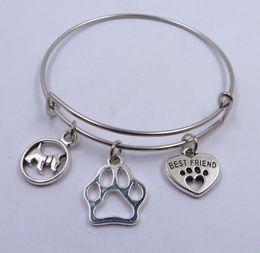White Cat Paws Australia - Expandable Cable Wire Bangle Adjustable Luxury Designer Jewelry Bracelet Pet Dog Hollow Cat Dog Paw Print Best Friends Heart Charm Bracelet