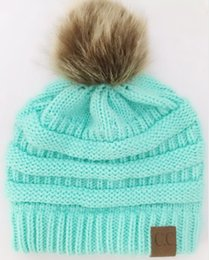 beanies for girls Australia - DHL For Adults Thick Warm Winter Hat For Women Soft Stretch Cable Knitted Pom Poms Beanies Hats Women's Skullies Beanies Girl Ski Cap