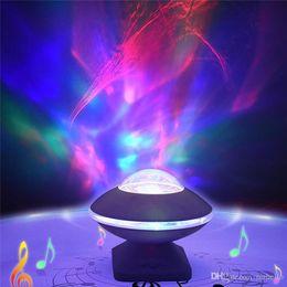Dmx Color Changing Lights Australia - UFO Northern Light Projector 45 Degree Rotation Aurora Night Light Color Changing UFO Speaker For Baby Kids Adults Relax DJ DMX