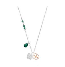 70285b06721c Cristales de Swarovski S925 Plata esterlina Colgante doble DUO tréboles  Cristal Verde Rosa Oro Metal Campus viento Selección para dama elegante