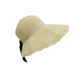 Black Blocks Australia - Bow big eave beach spring and summer sun block hat new lafite straw hat ladies holiday beach sun protection topless sun hat woman