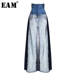 Bottoms Hot Sale 2019 New Retro High Waist Wide Leg Jeans Women Spring Fashion Pockets Burr Denim Pants Casual Loose Trousers